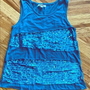 DKNY turquoise sequin tank